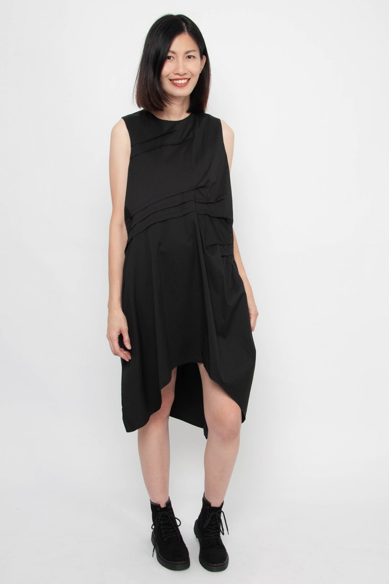 Tasia Pintucked Sleeveless Dress