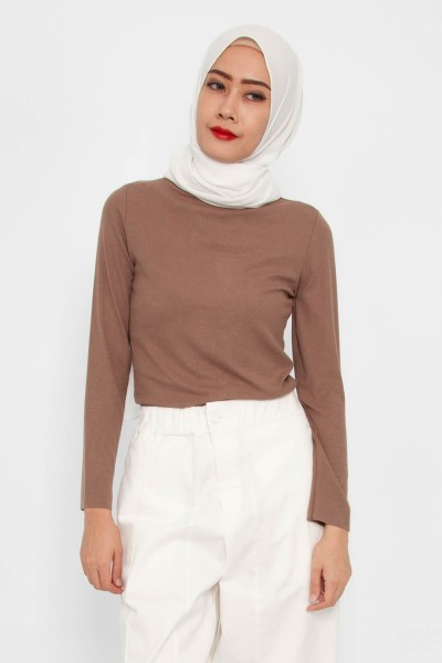 Vada Ribbed Mock Neck Top