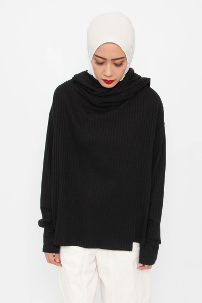 Skyler Ribbed Cowl Neck Top